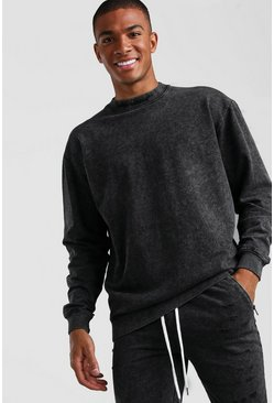 Charcoal Loose Fit Man Official Extended Neck Sweat