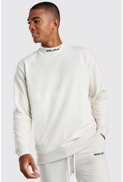 Ecru Loose Fit Man Official Extended Neck Sweat