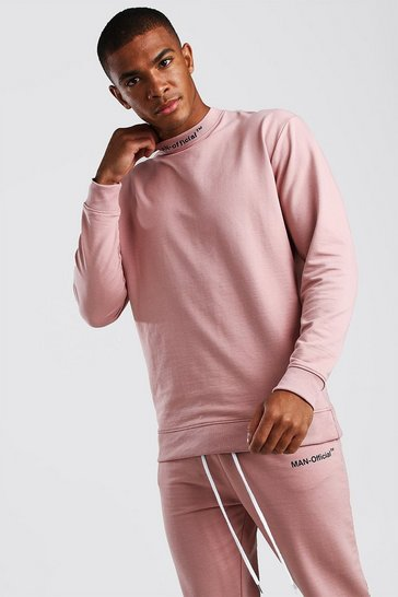 Mauve Loose Fit Man Official Extended Neck Sweat