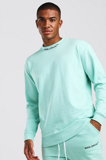Mint Loose Fit Man Official Extended Neck Sweat