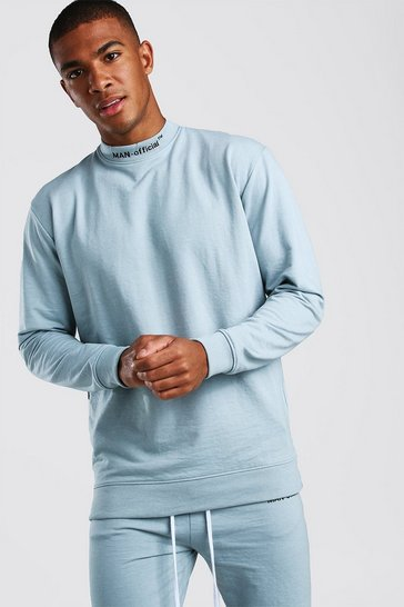 Blue Loose Fit Man Official Extended Neck Sweat