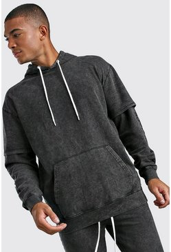 Charcoal Loose Fit Man Official Layered Sleeve Hoodie