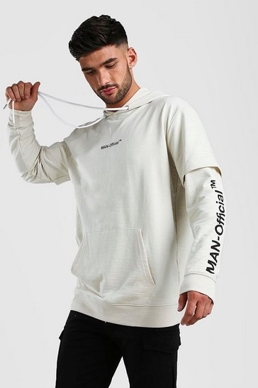 Ecru Loose Fit Man Official Layered Sleeve Hoodie