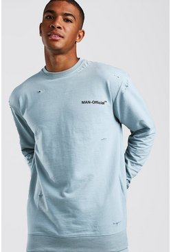 Blue Loose Fit Man Official Distressed Sweatshirt