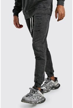 Skinny Fit MAN Official Jogginghosen in Destroyed-Optik, Anthrazit