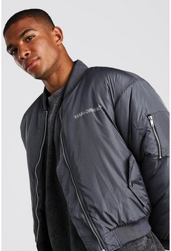 Oversized Man Official Padded Bomber Jacket, Charcoal