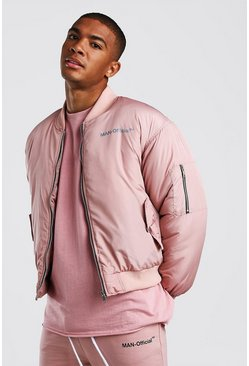 Oversized Man Official Padded Bomber Jacket, Mauve