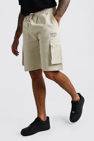 Stone Cargo Shorts With Zip Detail