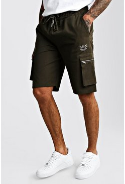 Khaki Cargo Shorts With Zip Detail