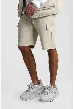 Stone Cargo Shorts With Elasticated Waistband