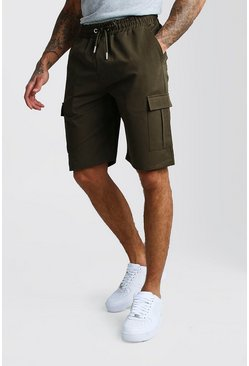Khaki Cargo Shorts With Elasticated Waistband