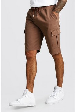 Brown Cargo Shorts With Elasticated Waistband