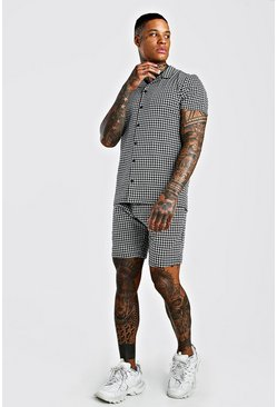 Jacquard Dogtooth Revere Collar Shorts Set, Black