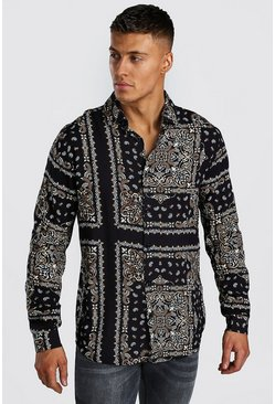 Long Sleeve Viscose Bandana Print Shirt, Black