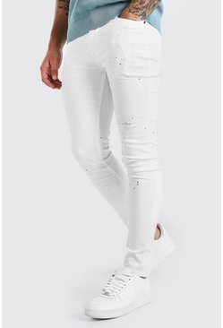 Super Skinny Jeans in Destroyed-Optik mit Farbspritzer, Weiß