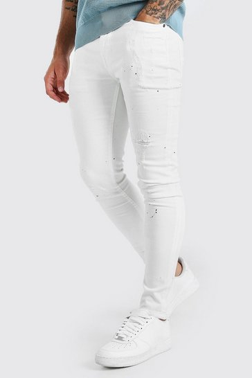White Super Skinny Distressed Paint Splatter Jeans