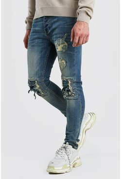 Vintage blue Super Skinny Jeans With Bandana Rip Detail