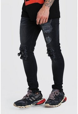 Super Skinny Jeans With Bandana Rip Detail, Washed black
