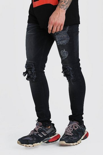 Washed black Super Skinny Jeans With Bandana Rip Detail