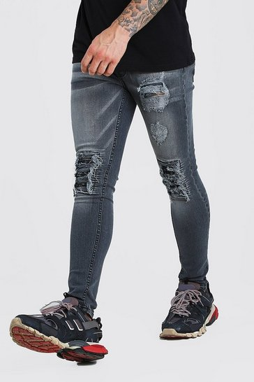 Grey Super Skinny Jeans With Bandana Rip Detail