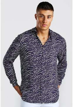 Navy Long Sleeve Viscose Animal Print Shirt