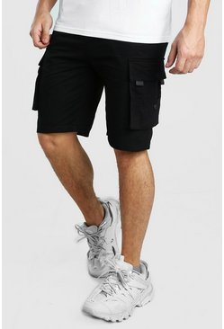 Cargo Utility Shorts With TAB Detail, Black