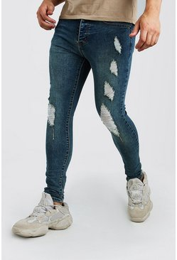Vintage blue Spray on skinny jeans med slitna detaljer