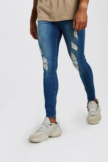 Mid blue Spray On Jeans With Rips