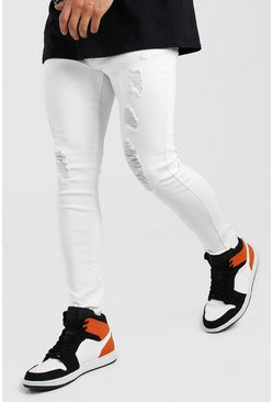 White Spray On Jeans With Rips