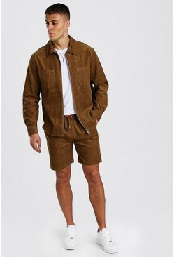 Tan Long Sleeve Zip Through Cord Shirt & Short Set