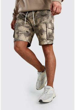 Taupe Blurred Camo Slim Fit Cargo Shorts