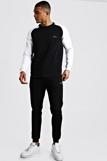 Black MAN Signature Contrast Sleeve Sweater Tracksuit