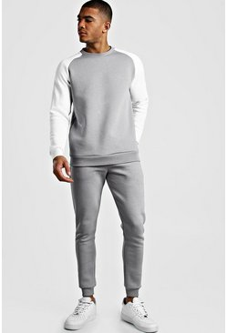 Grey MAN Signature Contrast Sleeve Sweater Tracksuit