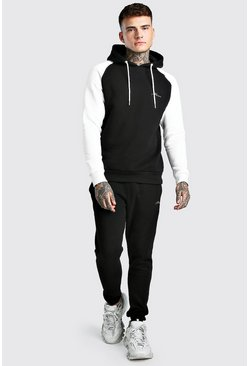 Black MAN Signature Hooded Contrast Sleeve Tracksuit