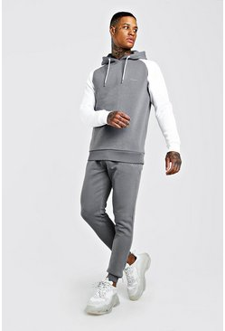 Slate MAN Signature Hooded Contrast Sleeve Tracksuit