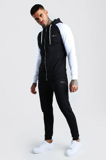 Black MAN Signature Contrast Sleeve Zip Thru Tracksuit
