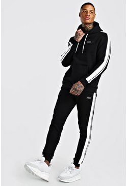 Black Original MAN Hooded Tracksuit With Tape Detail