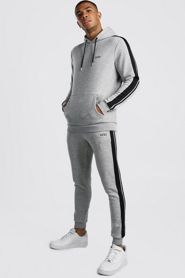 Grey marl Original MAN Hooded Tracksuit With Tape Detail