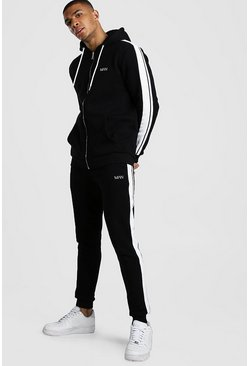 Black Original MAN Zip Hooded Tracksuit With Tape Detail