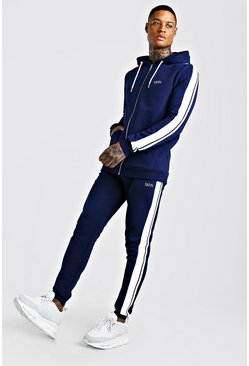 Navy Original MAN Zip Hooded Tracksuit With Tape