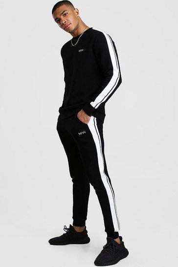 Black Original MAN Sweater Tracksuit With Tape Detail