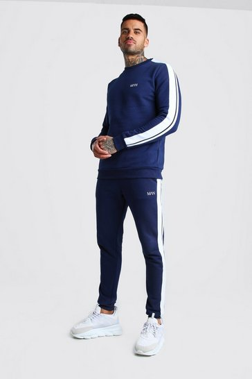 Navy Original MAN Sweater Tracksuit With Tape Detail