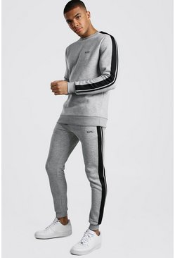 Grey marl Original MAN Sweater Tracksuit With Tape Detail