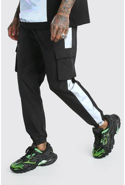 Shell Cargo Joggers With Refrlective Side Panels, Black