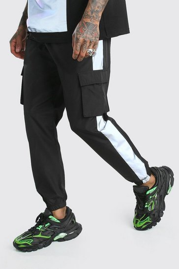Black Shell Cargo Joggers With Reflective Side Panels