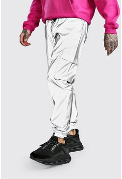 Silver Reflectve Cargo Joggers With Bungee Cords