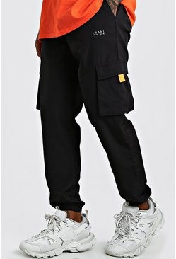 Black MAN Shell Cargo Joggers With Tabs