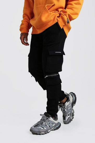 Black Official MAN Cargo Jogger With Zip Detail