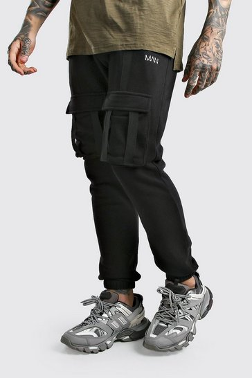 Black Original MAN Utility Joggers With Strap Detail