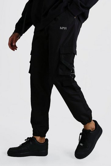 Black Shell Multi Cargo Pocket Joggers With Buckles